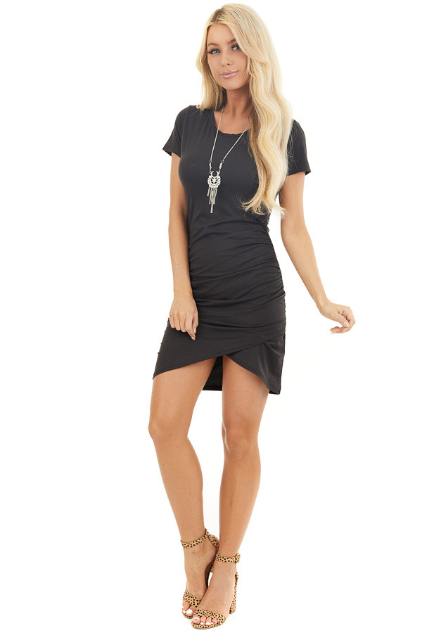 Black Short Sleeve Knit Dress with Side Ruching Detail front full body