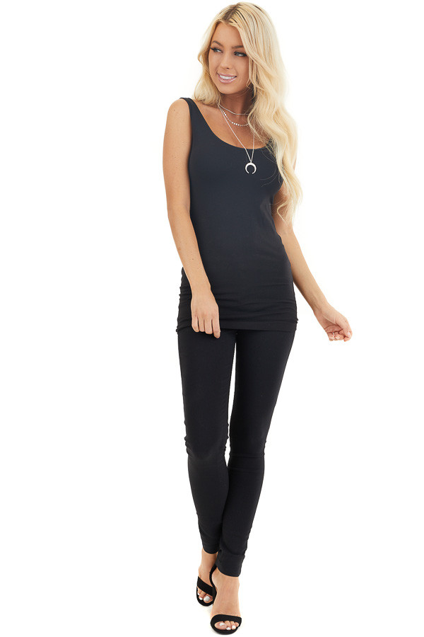 Black Solid Colored Mid Rise Skinny Jeans front full body