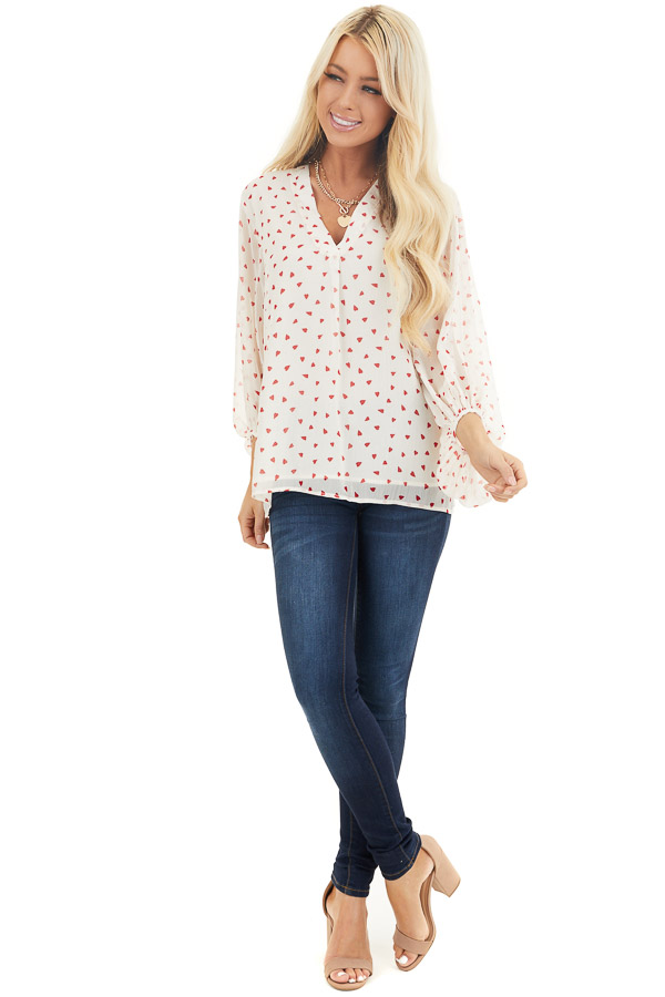 Ivory and Red Heart Pattern Blouse with Bubble Sleeves front full body