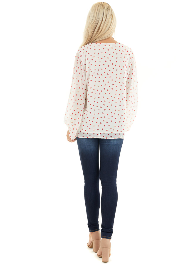 Ivory and Red Heart Pattern Blouse with Bubble Sleeves back full body