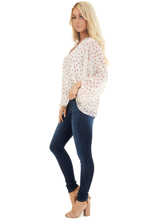 Ivory and Red Heart Pattern Blouse with Bubble Sleeves side full body