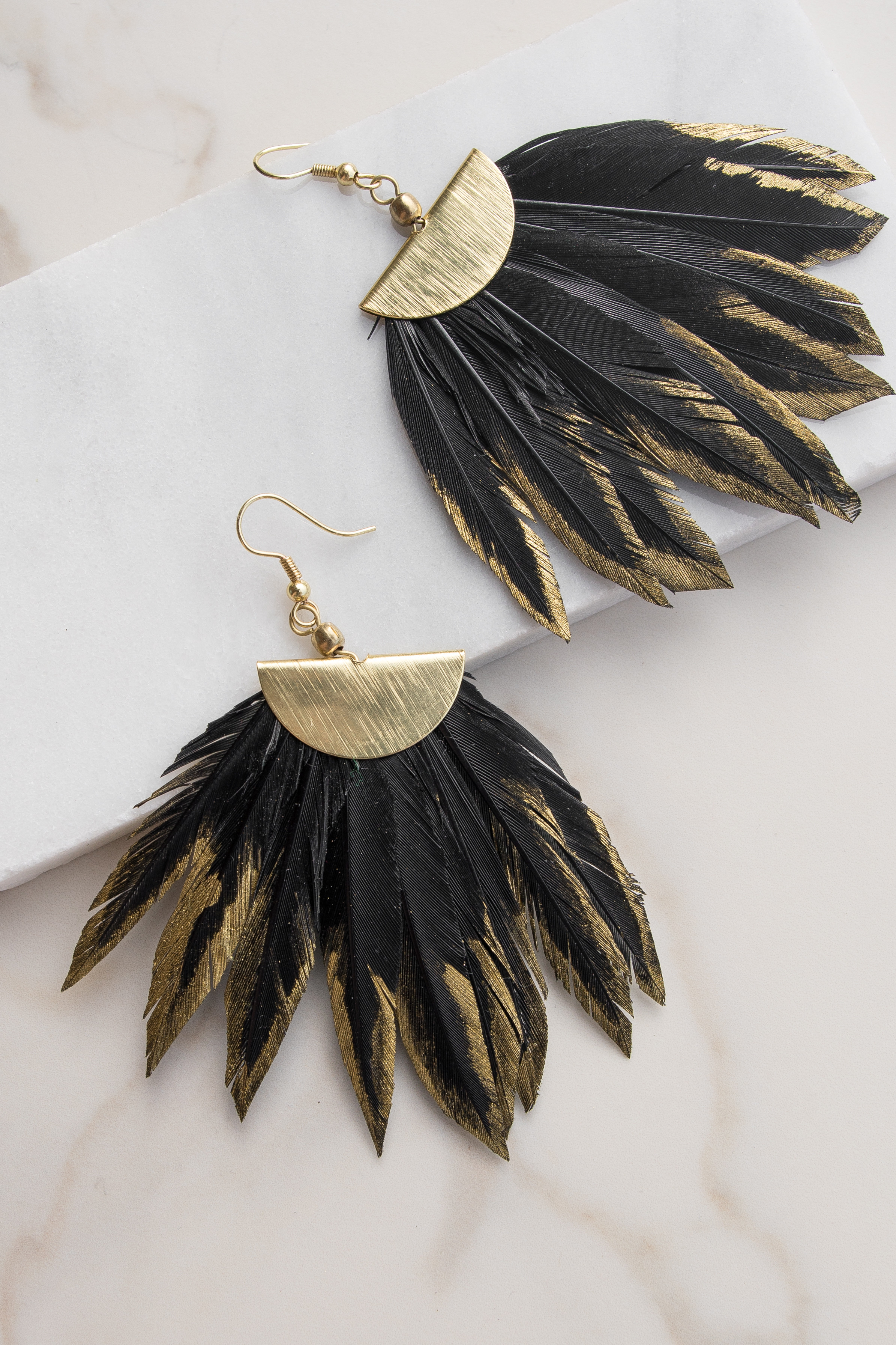 Black Feather Earrings with Gold Edge Detail