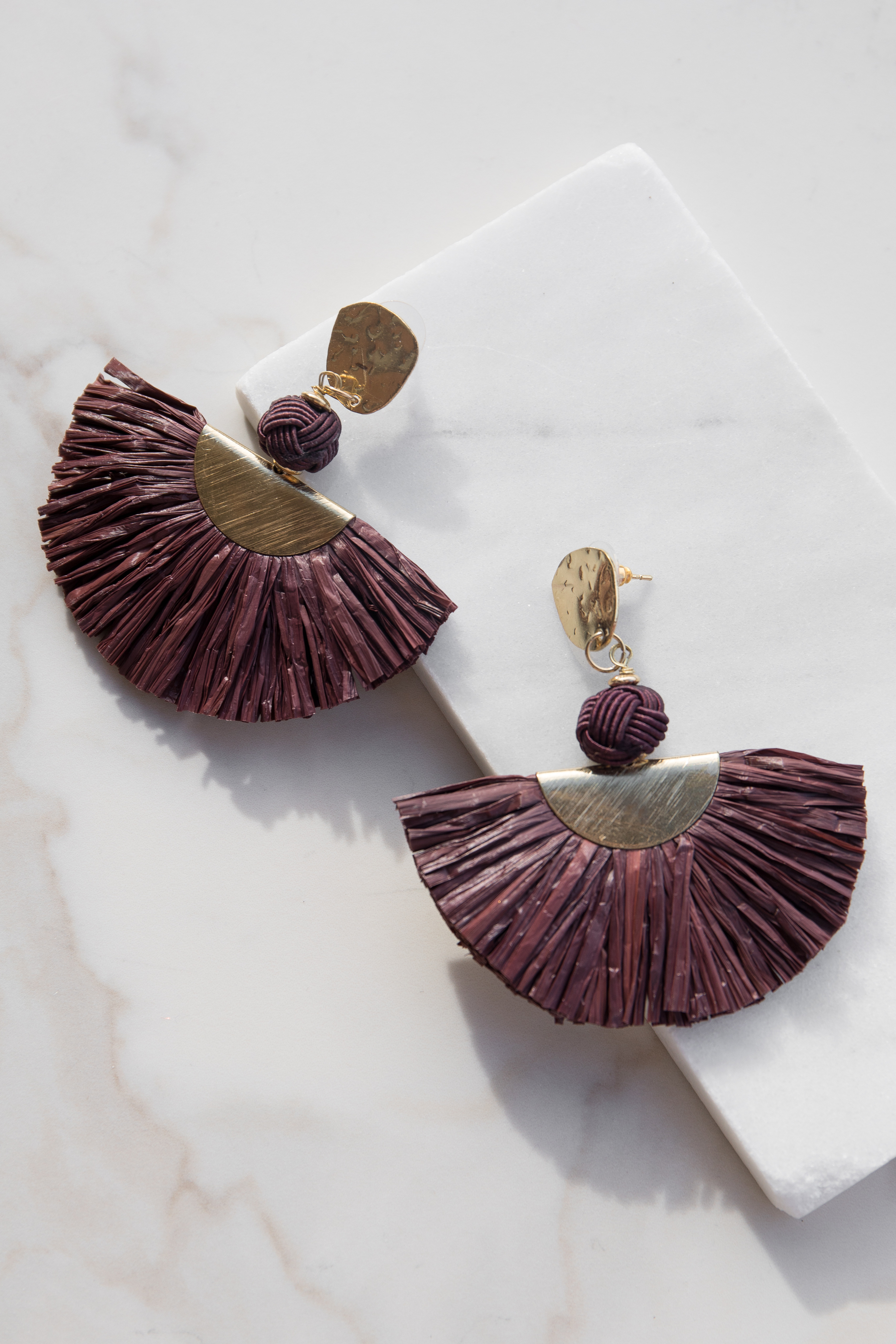 Plum and Gold Raffia Fan Earrings with Threaded Detail