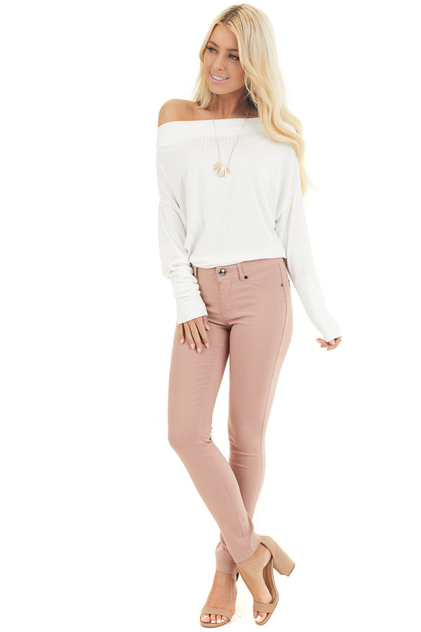Dusty Blush Solid Colored Mid Rise Skinny Jeans front full body