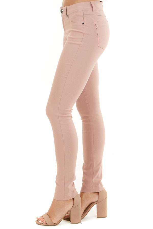 Dusty Blush Solid Colored Mid Rise Skinny Jeans side view
