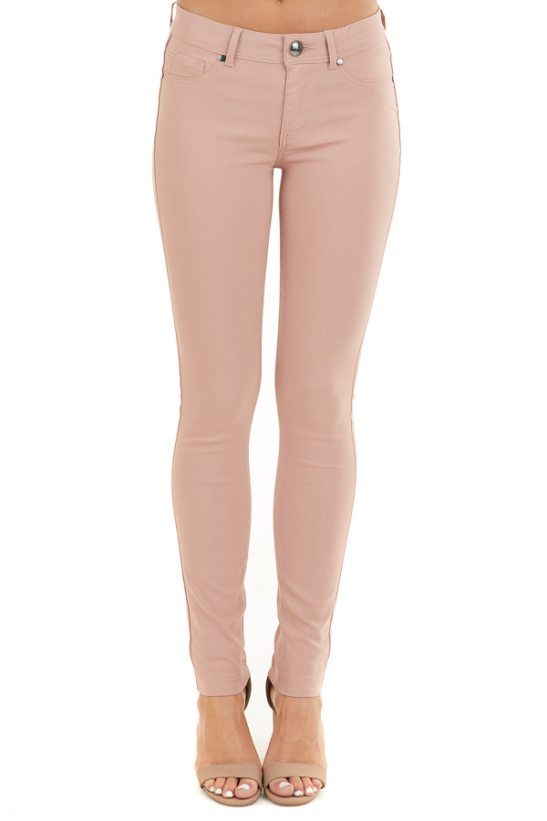 Dusty Blush Solid Colored Mid Rise Skinny Jeans front view