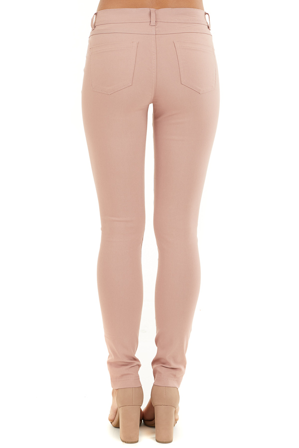 Dusty Blush Solid Colored Mid Rise Skinny Jeans back view