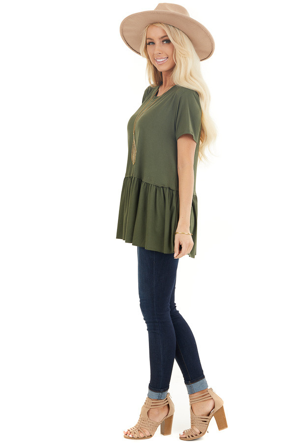 Olive Short Sleeve Knit Drop Waist Top with Ruffle Bottom side full body