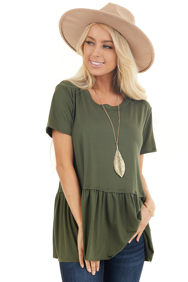 Olive Short Sleeve Knit Drop Waist Top with Ruffle Bottom front close up