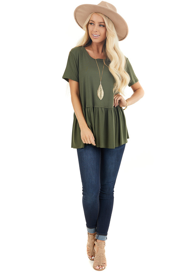 Olive Short Sleeve Knit Drop Waist Top with Ruffle Bottom front full body