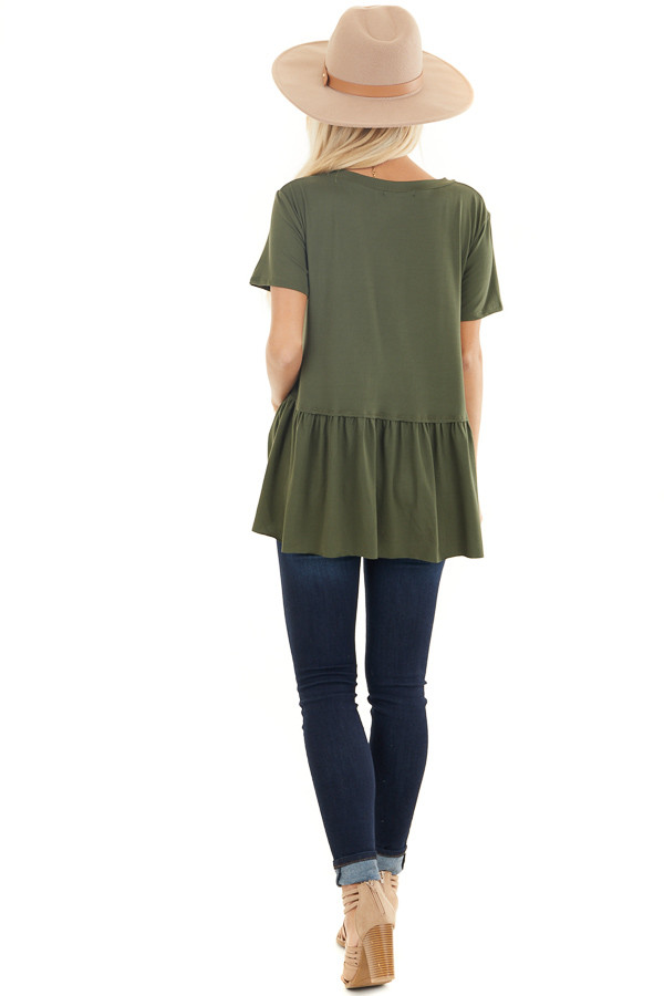 Olive Short Sleeve Knit Drop Waist Top with Ruffle Bottom back full body