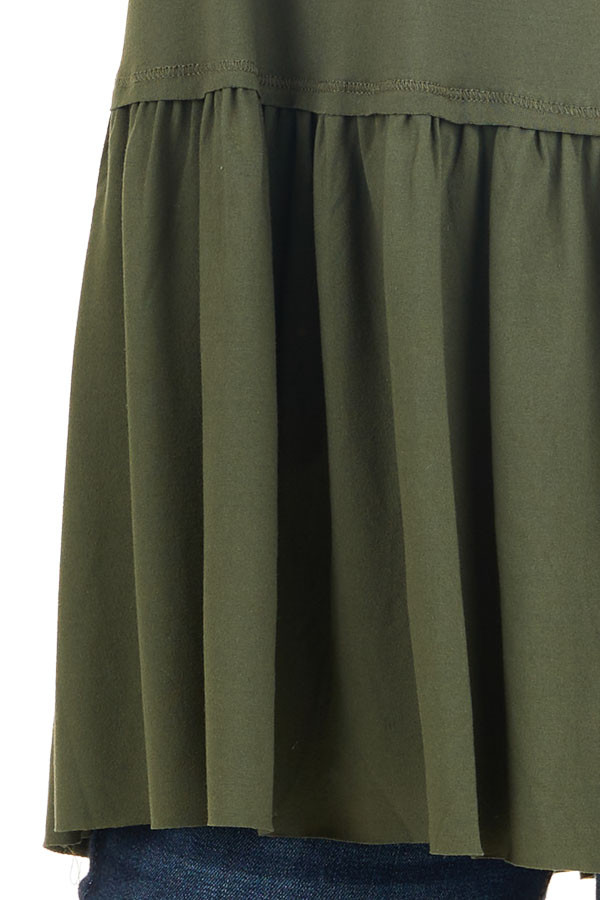 Olive Short Sleeve Knit Drop Waist Top with Ruffle Bottom detail