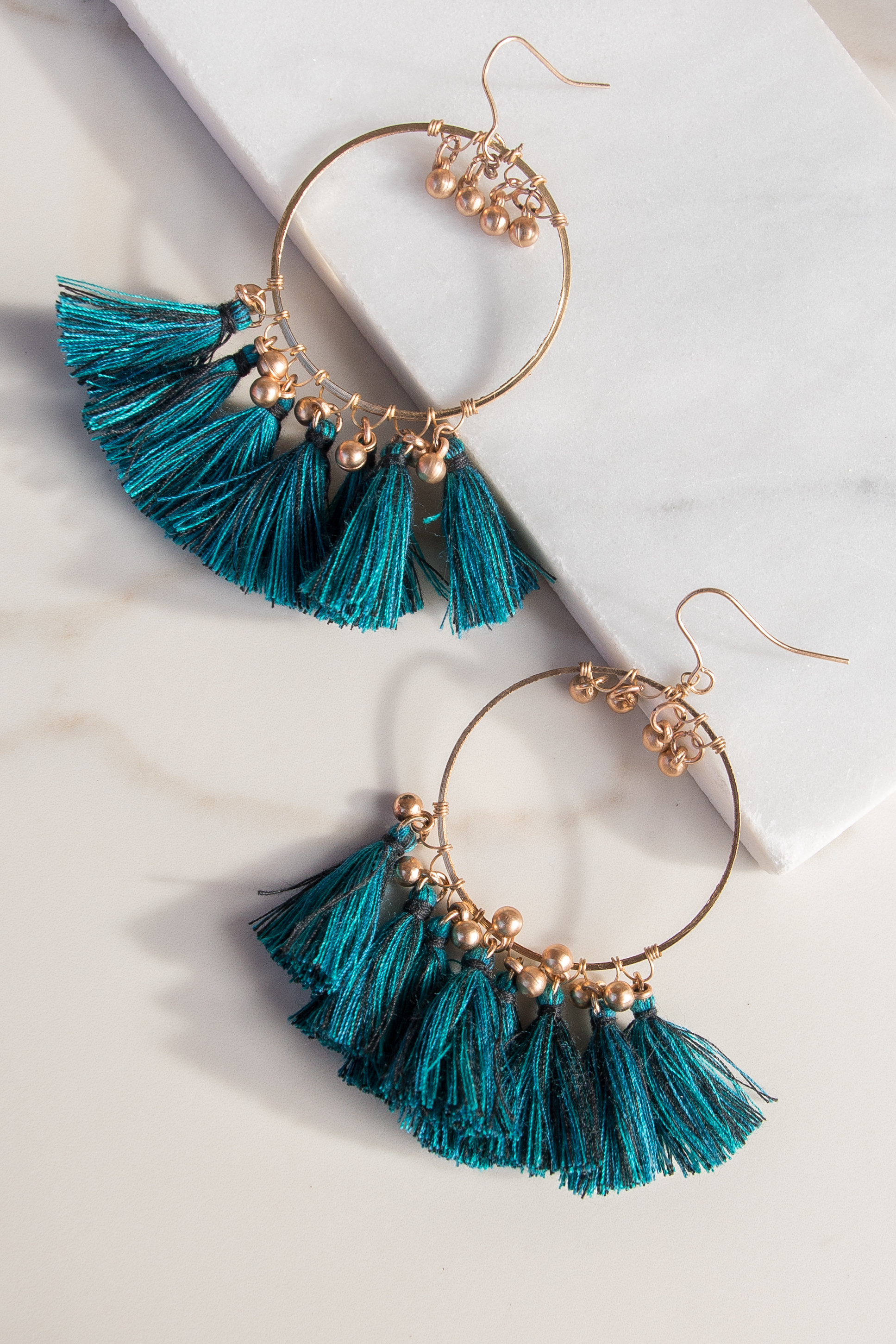 Gold Hoop Earrings with Teal Tassel Detail