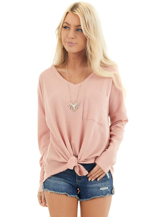 Baby Pink Waffle Knit Top with Long Sleeves and Chest Pocket front close up