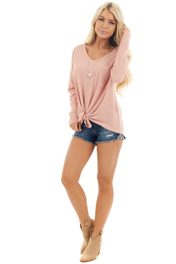 Baby Pink Waffle Knit Top with Long Sleeves and Chest Pocket front full body