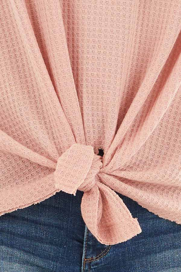 Baby Pink Waffle Knit Top with Long Sleeves and Chest Pocket detail
