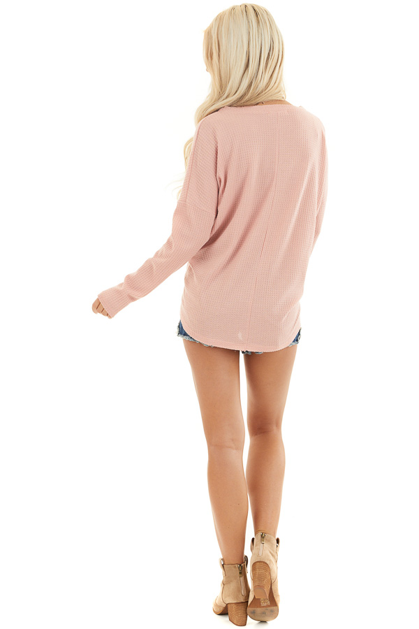 Baby Pink Waffle Knit Top with Long Sleeves and Chest Pocket back full body