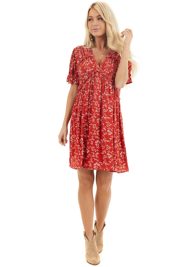 Lipstick Red Floral Print Babydoll Dress with Ruffle Detail front full body