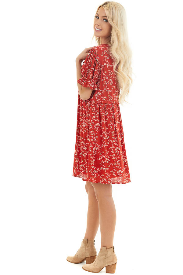Lipstick Red Floral Print Babydoll Dress with Ruffle Detail side full body