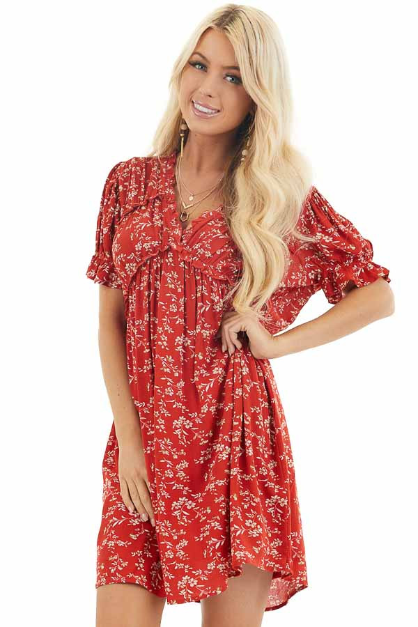 Lipstick Red Floral Print Babydoll Dress with Ruffle Detail front close up