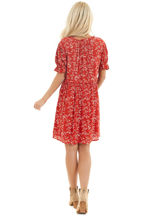 Lipstick Red Floral Print Babydoll Dress with Ruffle Detail back full body