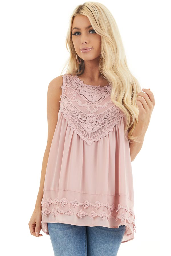 Dusty Rose Sleeveless Chiffon Tank Top with Crochet Details front close up