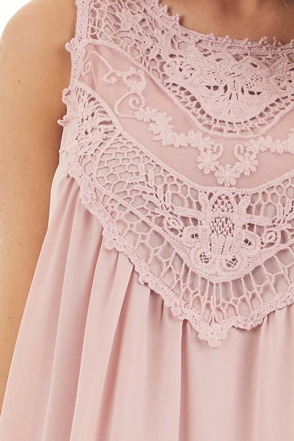 Dusty Rose Sleeveless Chiffon Tank Top with Crochet Details detail
