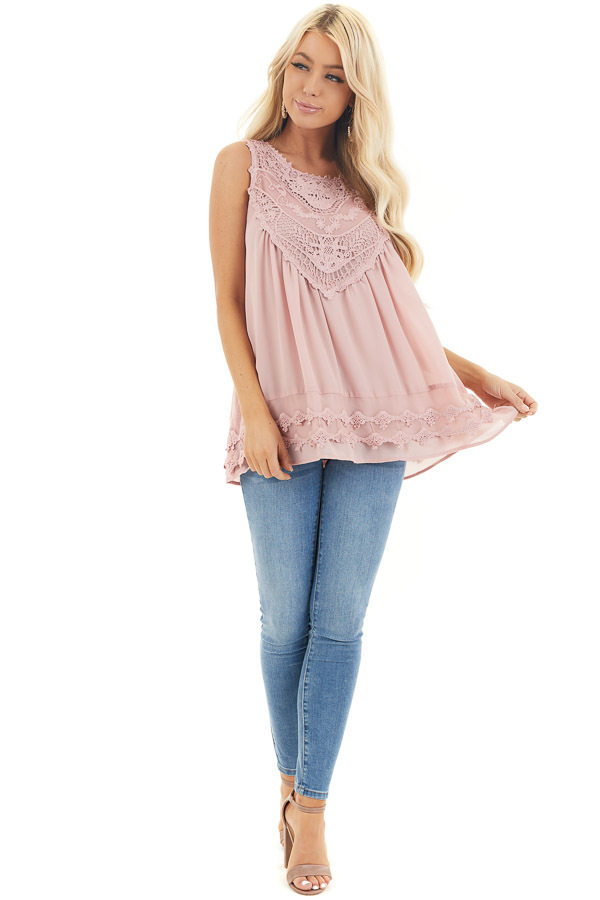 Dusty Rose Sleeveless Chiffon Tank Top with Crochet Details front full body