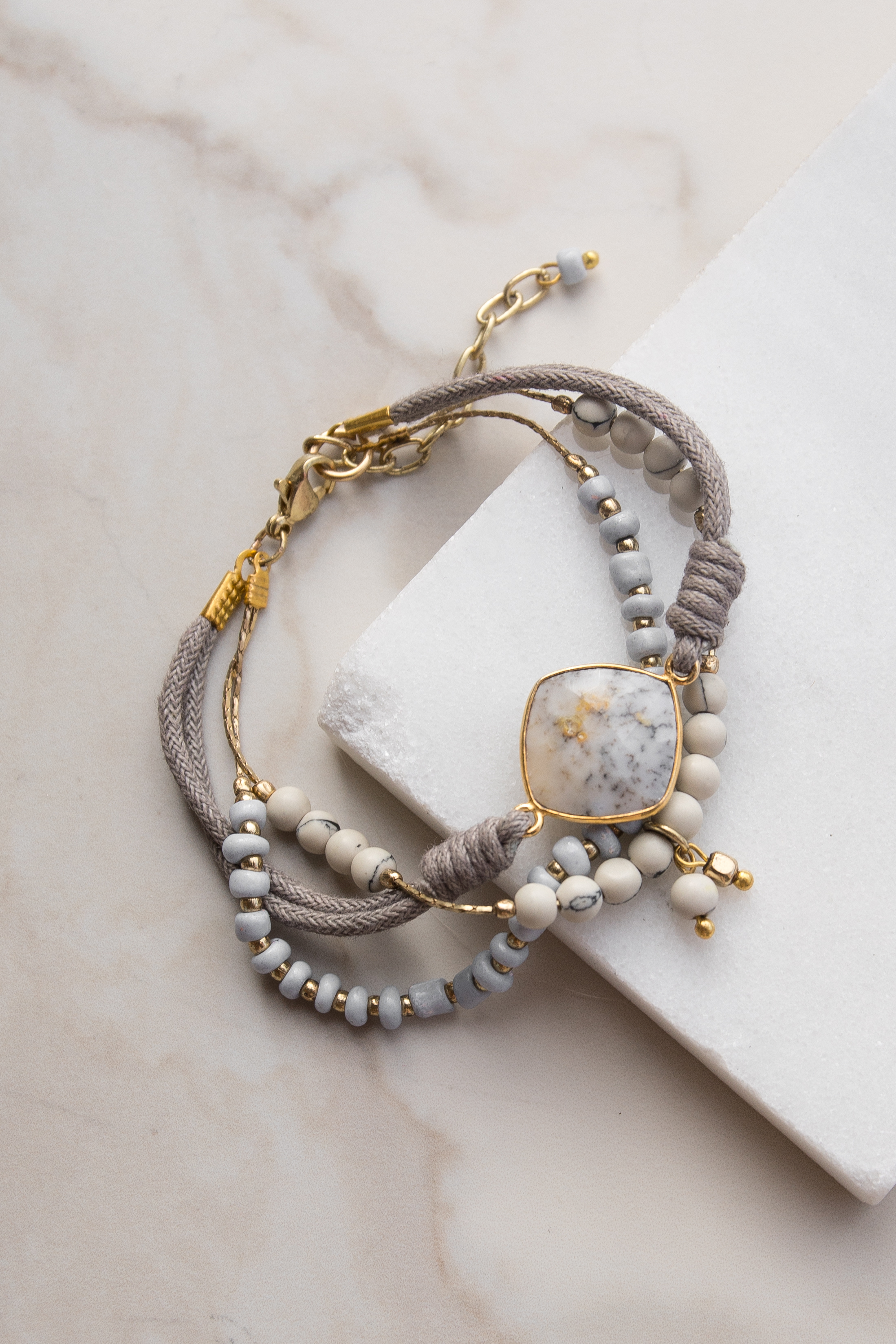 Ash Grey and White Layered Beaded Bracelet with Stone Detail
