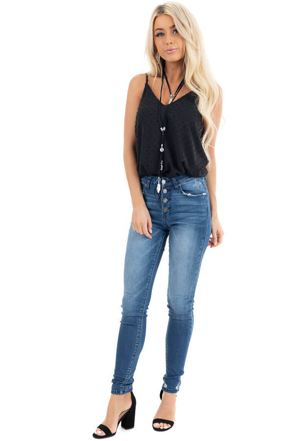 Black V Neck Swiss Dot Tank Top with Adjustable Straps front full body