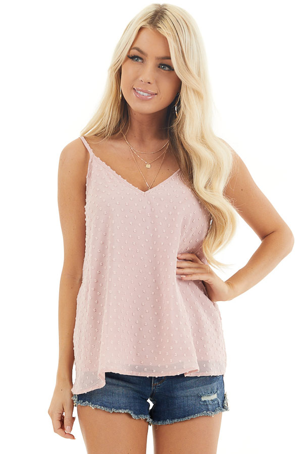 Blush V Neck Swiss Dot Tank Top with Adjustable Straps front close up
