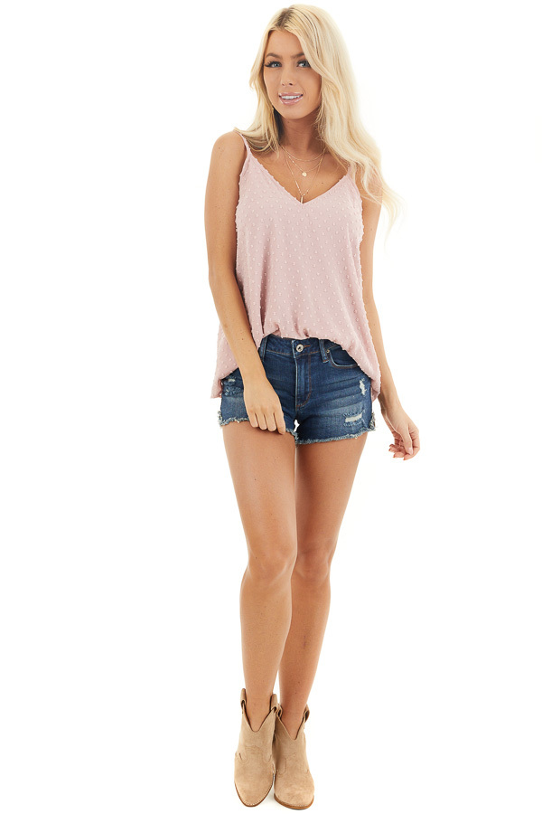 Blush V Neck Swiss Dot Tank Top with Adjustable Straps front full body
