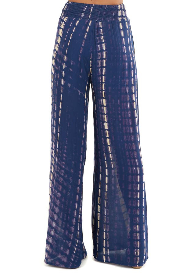 Navy Tie Dye Wide Leg Pants with Smocked Waistband back view