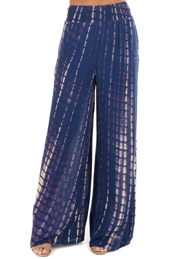 Navy Tie Dye Wide Leg Pants with Smocked Waistband front view