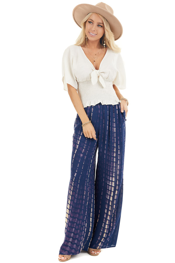 Navy Tie Dye Wide Leg Pants with Smocked Waistband front full body