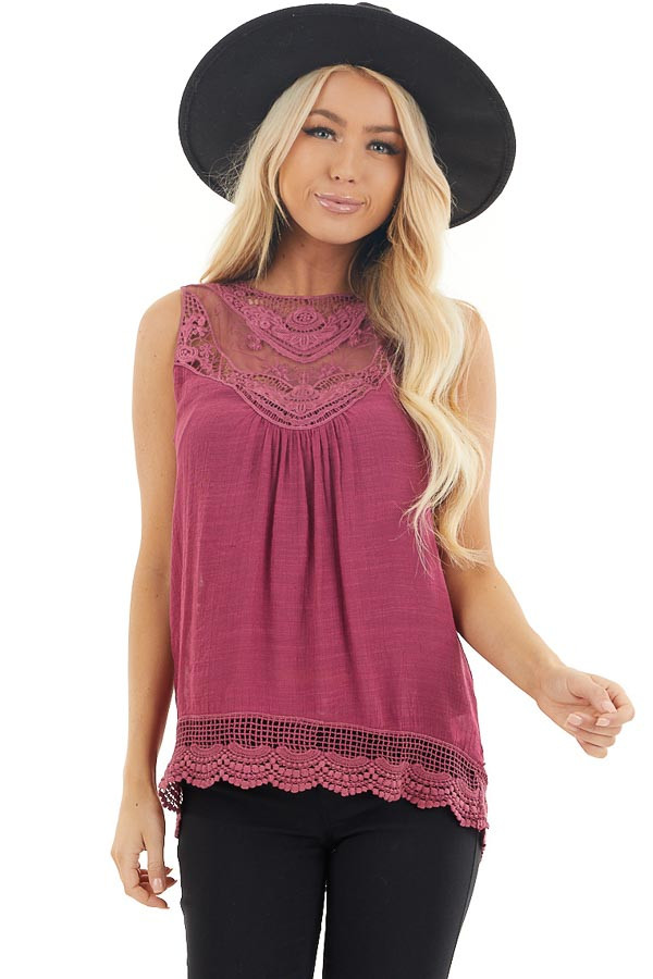 Dark Fuchsia Woven Tank Top with Crochet Lace Detail front close up