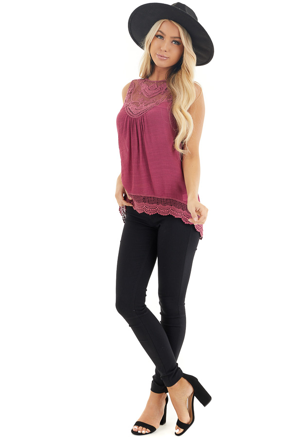 Dark Fuchsia Woven Tank Top with Crochet Lace Detail front full body