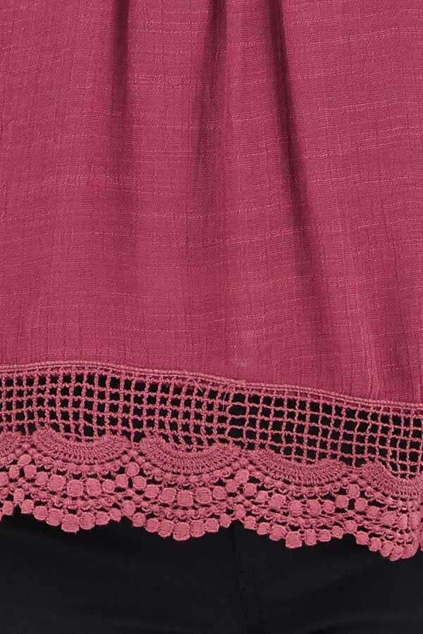 Dark Fuchsia Woven Tank Top with Crochet Lace Detail detail