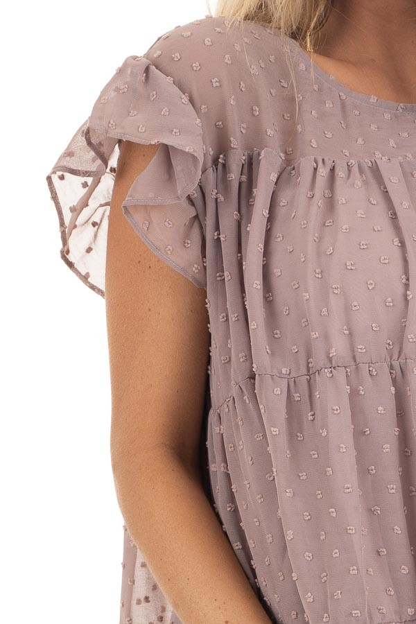 Lavender Swiss Dot Tiered Top with Short Ruffle Sleeves detail