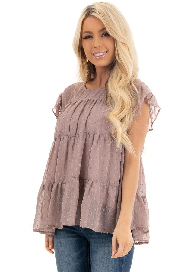 Lavender Swiss Dot Tiered Top with Short Ruffle Sleeves front close up