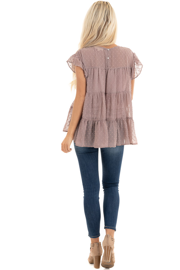 Lavender Swiss Dot Tiered Top with Short Ruffle Sleeves back full body