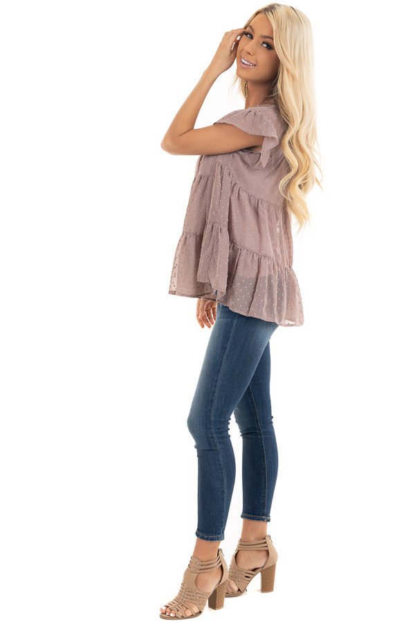 Lavender Swiss Dot Tiered Top with Short Ruffle Sleeves side full body