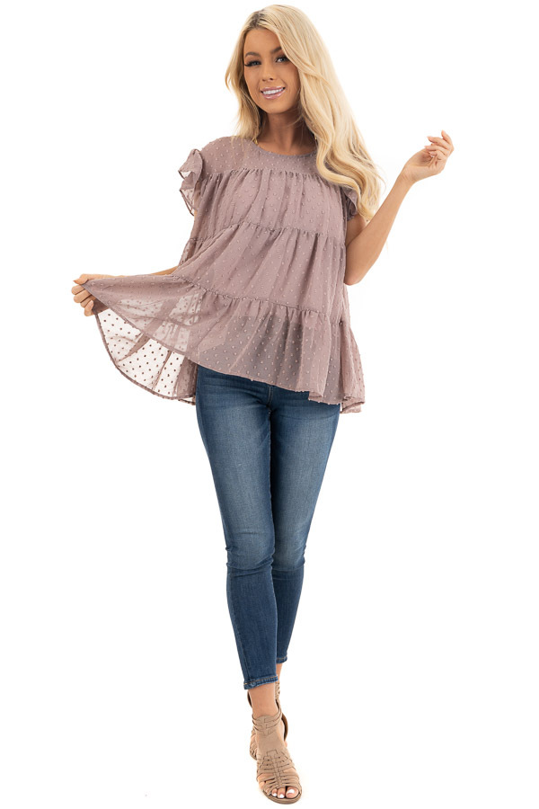 Lavender Swiss Dot Tiered Top with Short Ruffle Sleeves front full body