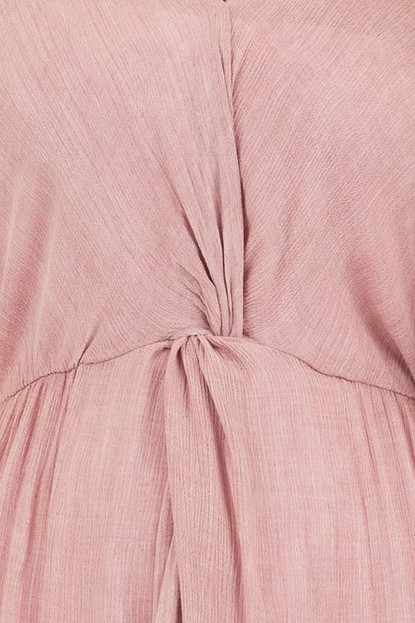 Dusty Blush Long Overlay Top with Front Twist Detail detail