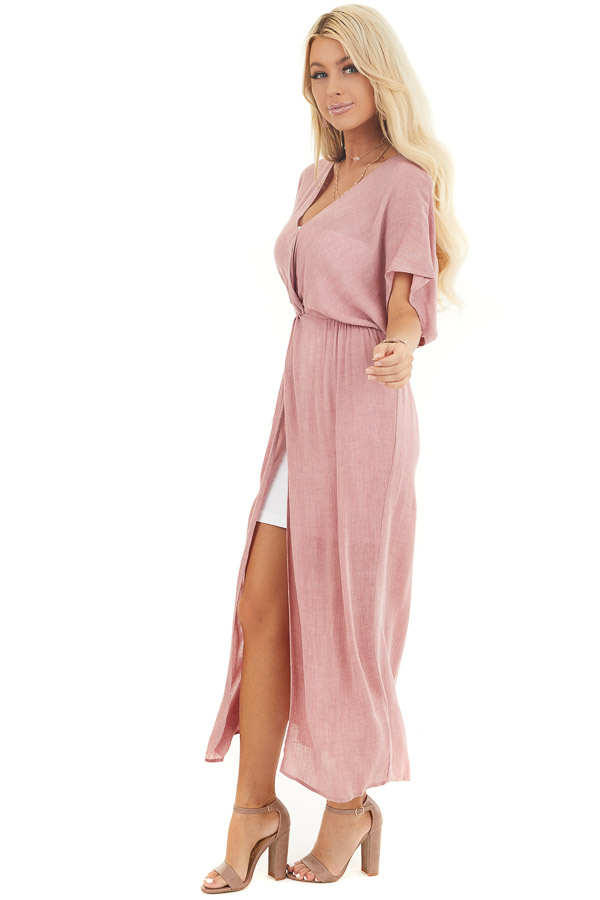 Dusty Blush Long Overlay Top with Front Twist Detail side full body