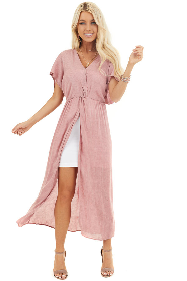 Dusty Blush Long Overlay Top with Front Twist Detail front full body