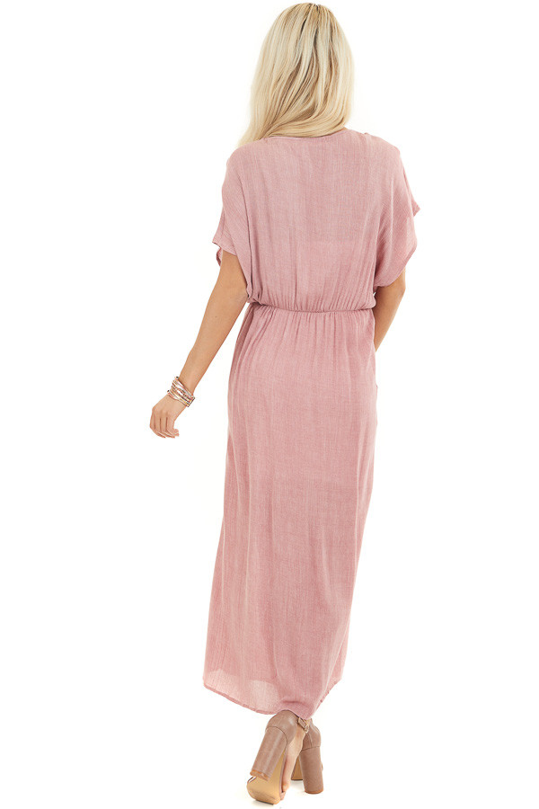 Dusty Blush Long Overlay Top with Front Twist Detail back full body