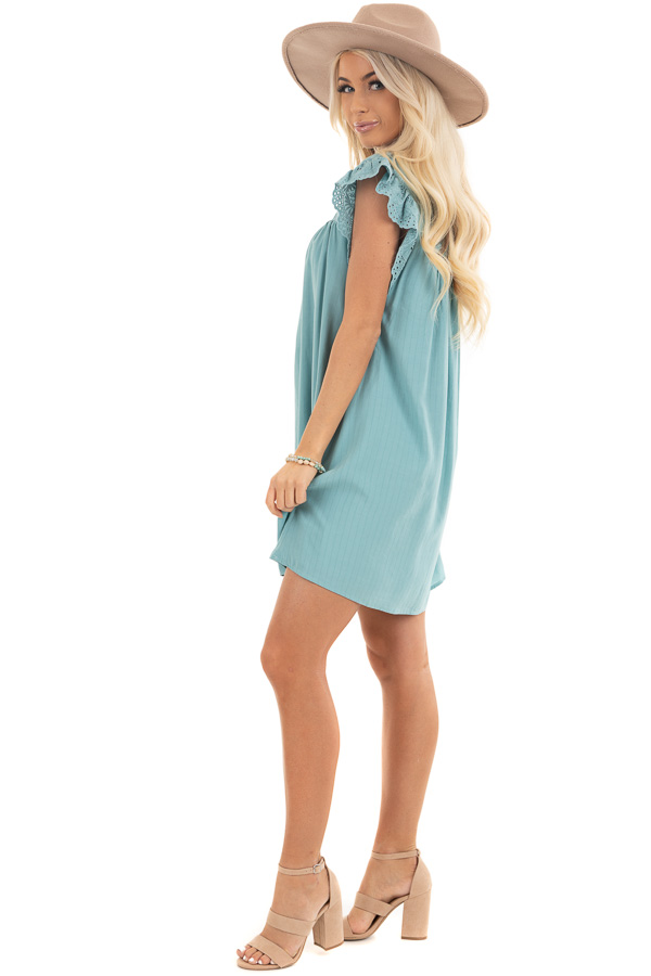 Seafoam Short Sleeve Babydoll Dress with Eyelet Detail side full body
