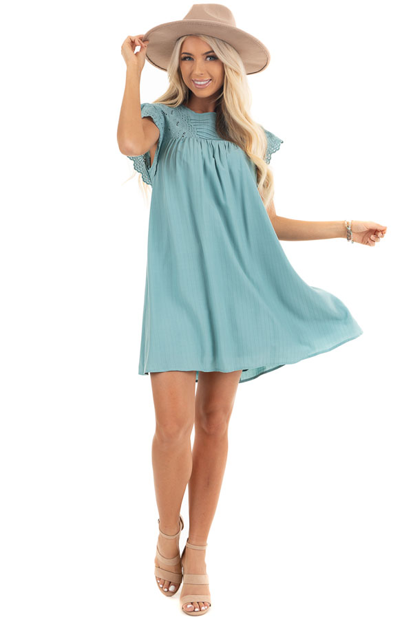 Seafoam Short Sleeve Babydoll Dress with Eyelet Detail front full body