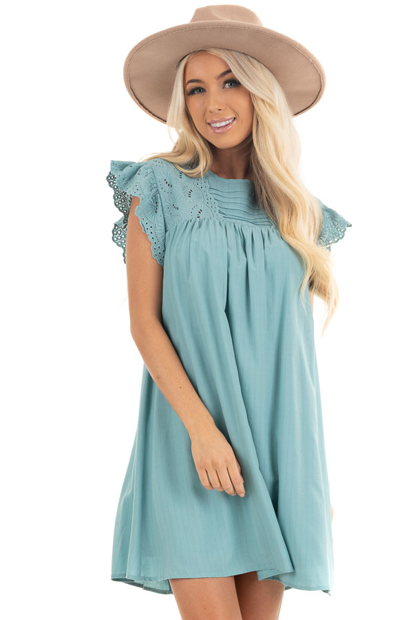 Seafoam Short Sleeve Babydoll Dress with Eyelet Detail front close up